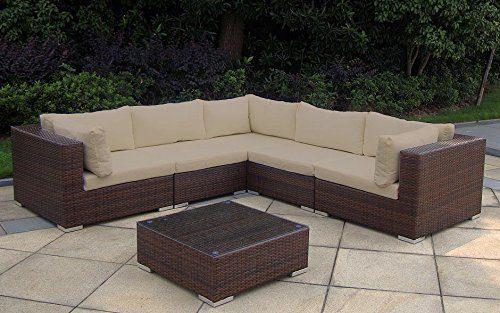 Baidani Rattan Garten Lounge Garnitur Sunshine, Braun meliert
