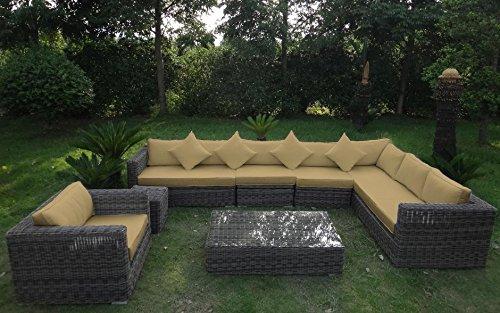 Baidani Rundrattan Garten Lounge Garnitur Celebration integrierter Stauraum