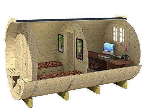Blockhaus BÜRO HOLZFASS 215 x 330cm Gartenhaus 28mm Holzhaus