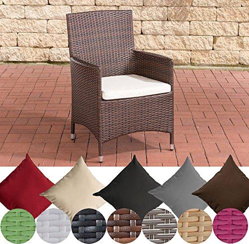 CLP Poly-Rattan Garten-Stuhl JULIA, ALU Gestell, mit Sitzkissen, 5 Rattan Farben + 5 Bezug Farben