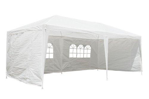 CampFeuer - Pavillion Partyzelt 3x6m, weiß - mit allen Seitenteilen, Gartenzelt komplett verschließbar