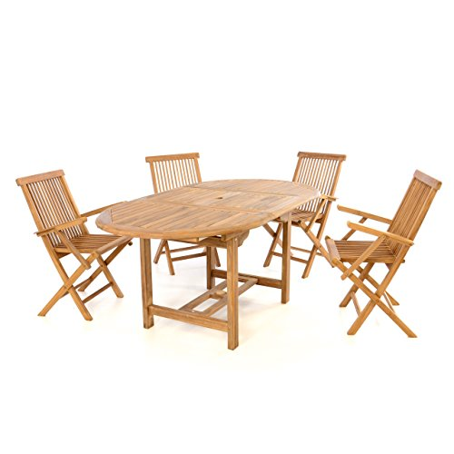 divero 5 tlg garten m bel set sitzgruppe teak holz klappstuhl tisch 120 170 m bel24 gartenm bel. Black Bedroom Furniture Sets. Home Design Ideas