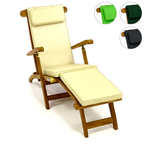 divero liegestuhl eleganter deckchair florentine steamer chair teakholz liegenauflage mit. Black Bedroom Furniture Sets. Home Design Ideas