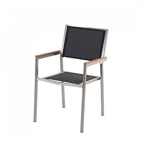 Designer Textil Gartenstuhl - Edelstahl - Sessel - Gartenmöbel - Textilstuhl - GROSSETO