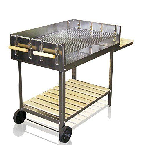 Edelstahl BBQ-Grill rollbar Holzkohlegrill Grillwagen mit höhenverstellbarer 6000cm² Grillfläche / 145x92x60cm