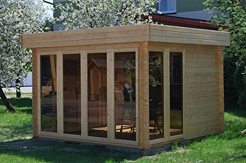 flachdach gartenhaus sonneninsel 3 50 x 3 70 meter aus 28 mm blockbohlen m bel24 gartenm bel. Black Bedroom Furniture Sets. Home Design Ideas
