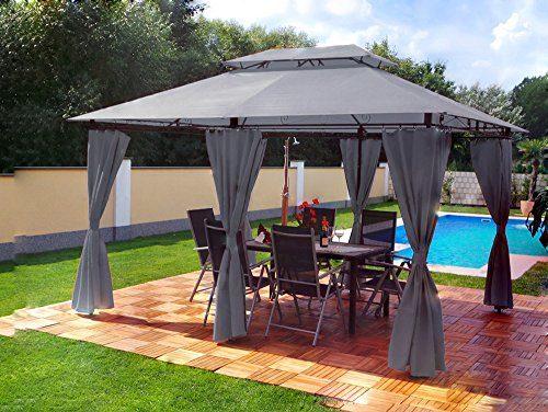Garten Pavillon 3x4m, Groten Luxus Hochwertiges Wasserdicht Polyester Gartenzelt mit 6 Vorhängen für Party und Oktoberfest Farbwahl