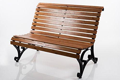 Gartenbank Holz/Metall X250 vorne abgerundet 122x87 cm Holzbank Sitzbank Gartenmöbel
