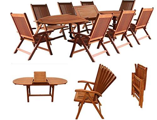 gartengarnitur sitzgruppen gartenm bel set holz akazie 9tlg tisch 180 260 cm fsc zertifiziert. Black Bedroom Furniture Sets. Home Design Ideas