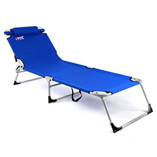 Gartenliege Camping Liege blau 190x63x28 cm mit Kopfkissen Sonnenliege klappbar 4fach verstellbar Stahlrohrrahmen Kopfkissen Dreibeinliege wetterfest robust pflegeleicht stabil