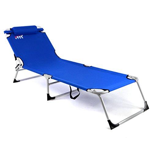 gartenliege camping liege blau 190x63x28 cm mit kopfkissen sonnenliege klappbar 4fach. Black Bedroom Furniture Sets. Home Design Ideas