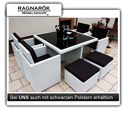 gartenm bel polyrattan essgruppe tisch mit 4 x stuhl 4 hocker deutsche marke eignene. Black Bedroom Furniture Sets. Home Design Ideas