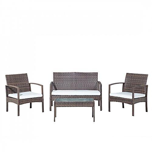 Gartenmöbel - Rattanmöbel - Balkonmöbel - Rattanset - Tisch + Bank + 2 Stühle - MARSALA