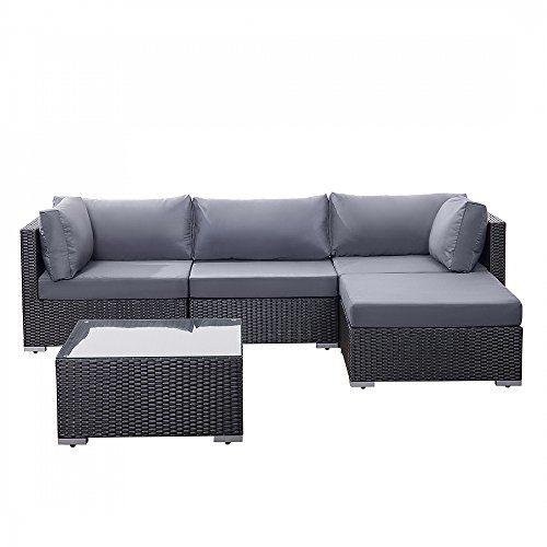 Gartenmöbel Schwarz - Rattanmöbel - Polyrattan Lounge - Gartensofa - SANO