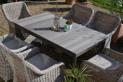 Gartenmöbel Set Como-6 Tisch ausziehbar Holzdekor mit 6 Sessel Rattan Polyrattan Geflecht