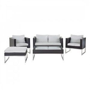 Gartenmöbel Set braun - Edelstahl und Rattan- Tisch - Sofa - 2x Sessel - CREMA