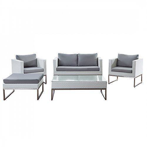 Gartenmöbel Set weiss - Edelstahl und Rattan - Tisch - Sofa - 2x Sessel - Ottoman - CREMA