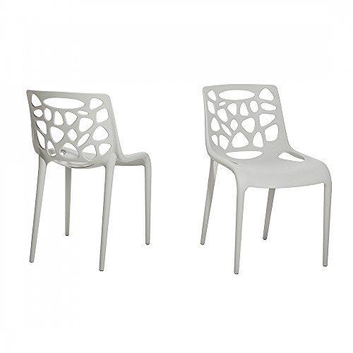 Gartenstuhl - Plastikstuhl hellgrau - Stuhl aus Kunststoff - MORGAN