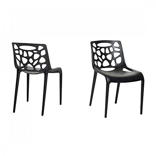 Gartenstuhl - Plastikstuhl schwarz - Stuhl aus Kunststoff - MORGAN