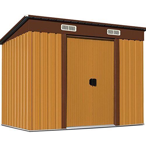 Gerätehaus Metall 196x122x180 cm Verzinkt Geräteschuppen Gartenlaube Metallgerätehaus Gartenhaus