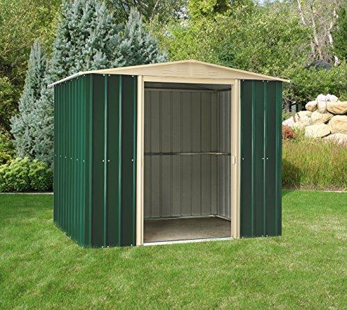 Globel Industries Metall Garten Gerätehaus Gartenhaus 8x6 green & cream // 234x175x198 cm (BxTxH) // 4,1m² // Gerätehaus Metall Satteldach