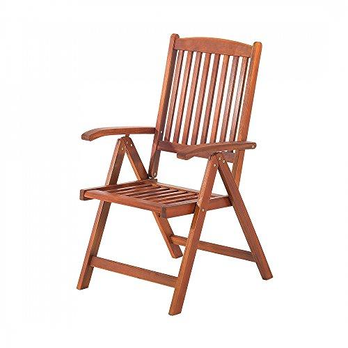 Holz Gartenstuhl - Stuhl mit verstellbarer Rückenlehne - Gartenmöbel - Holzstuhl - TOSCANA