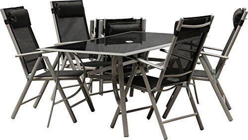 IB-Style - Top Gartenmöbel JAMAICA Gartengarnitur Alu/Textilen | 6 Kombinationen in 2 Abmessungen wählbar | Gartentisch schwarzglas | Sitzgruppe