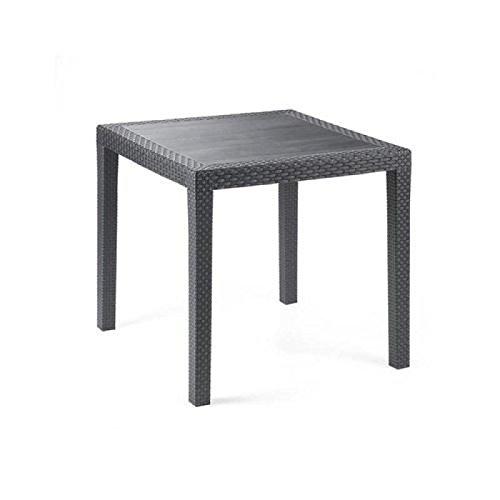 gartentisch rattan optik tisch schwarz 79 x 79 cm bistrotisch beistelltisch incl schirmloch. Black Bedroom Furniture Sets. Home Design Ideas