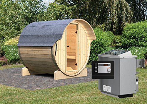 Karibu Fass - Sauna 1 42 mm inkl. 9-kW-Ofen - Saunahaus
