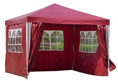 Kronenburg Pavillon PE Gartenzelt mit 4 Seitenteilen in Rot