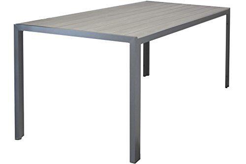 Kynast Aluminium Gartentisch 150 x 90 cm hellgrau anthrazit