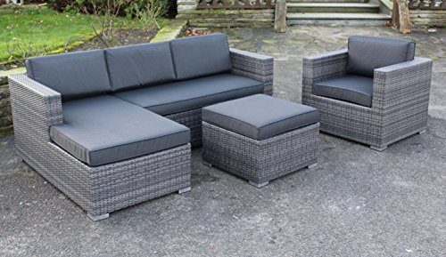 "Lesli Poly Rattan Lounge Set ""Jazz"" inkl. Sessel absolut wetterfest - variable Liegefläche"
