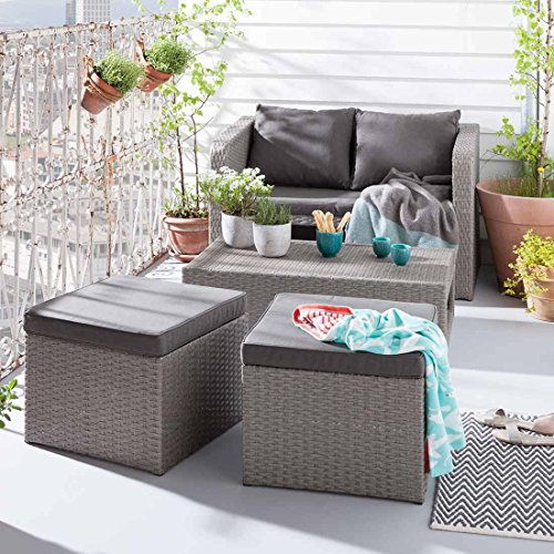 loungem bel balkon outliv mainau balkonlounge 4 teilig flachgeflecht grau kissen sand m bel24. Black Bedroom Furniture Sets. Home Design Ideas