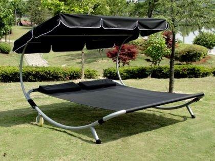 loywe sonnenliege doppelliege mit dach fr 2 personen lw22schwarz new 0 m bel24 gartenm bel. Black Bedroom Furniture Sets. Home Design Ideas