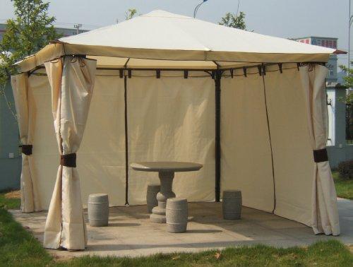 Luxus-Pavillon VENEZIA 3x3m mit Seitenteilen, ecru, Dach wasserdicht