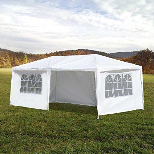 MAXCRAFT Pavillon Partyzelt Gartenzelt Zelt mit Dach für Garten Terrasse Camping Festival 3x6 m weiß inkl. 6 Wänden
