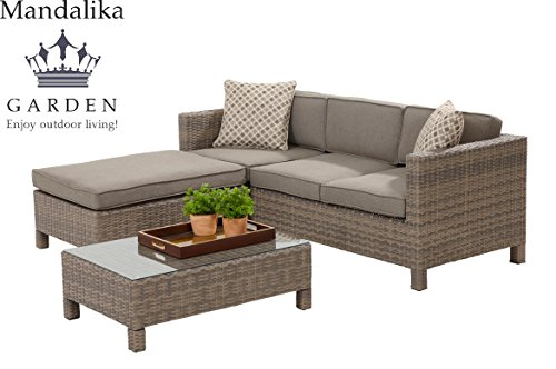 "Mandalika Poly Rattan Lounge Set ""Bayano"" absolut wetterfest - variable Liegefläche, sand Twin Wicker"