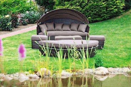 merxx riva relaxinsel 180 cm braunes geflecht mit taupefarbenen kissen m bel24 gartenm bel. Black Bedroom Furniture Sets. Home Design Ideas