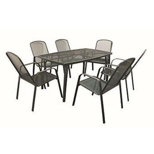Metall Sitzgruppe 7tlg. anthrazit Streckmetall Sitzgarnitur Gartenmöbelset