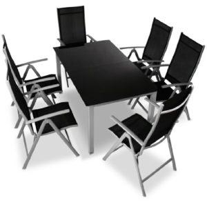 Miadomodo Alu-Sitzgarnitur Gartengarnitur Gartenmöbel 7-teilig (Tisch und Stühle) aus Aluminium mit Farbwahl