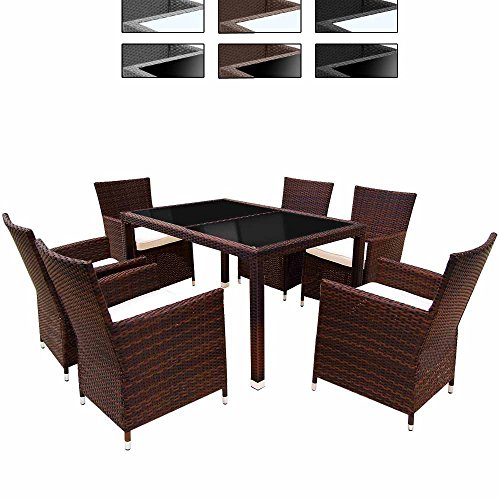 miadomodo elegante 6 1 polyrattan aluminium sitzgarnitur. Black Bedroom Furniture Sets. Home Design Ideas
