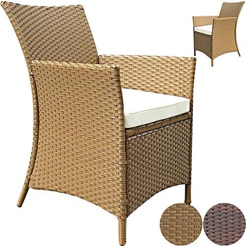 miadomodo gartenstuhl aus polyrattan mit sitzauflage in. Black Bedroom Furniture Sets. Home Design Ideas