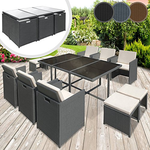 miadomodo polyrattan lounge gartenset sofa garnitur polyrattan gartenm bel sitzgruppe 11 teilig. Black Bedroom Furniture Sets. Home Design Ideas