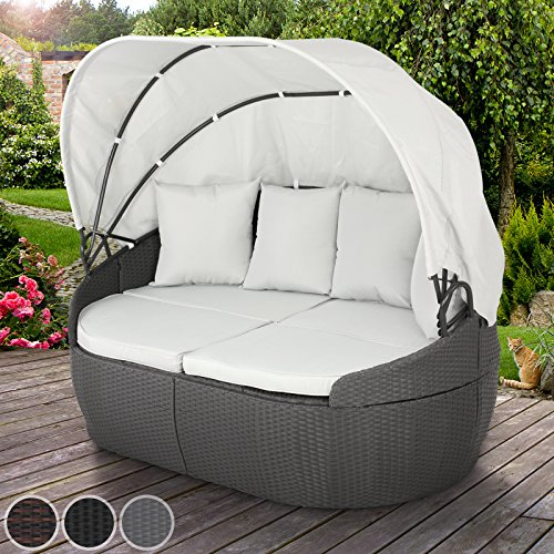 miadomodo polyrattan sonnenliege gartenliege sonneninsel mit dach ca 172 140 100 cm in der. Black Bedroom Furniture Sets. Home Design Ideas