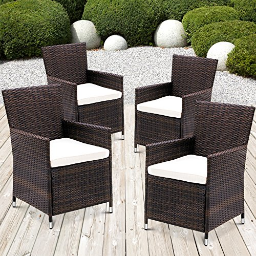 miadomodo polyrattan gartenm bel rattanm bel st hle inkl sitzkissen in 2er set und 4er set in. Black Bedroom Furniture Sets. Home Design Ideas