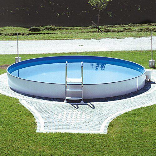 Miganeo® Stahlwandpool Styra rund, Einbaupool, Pool verschiedene Größen 350x120cm - 600x150cm, auch zum Erdeinbau