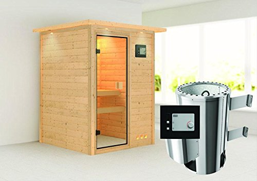 nadja karibu sauna plug play inkl 3 6 kw ofen mit dachkranz m bel24 gartenm bel. Black Bedroom Furniture Sets. Home Design Ideas