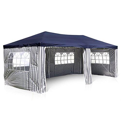 Nexos GM36076 PE-Pavillon Partyzelt mit 4 Seitenteilen und 2 Eingängen für Garten Terrasse Feier oder Fest als Unterstand Plane 110g/m² wasserdicht 3 x 6 m
