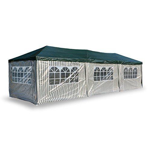 Nexos PE-Pavillon Partyzelt mit 6 Seitenteilen und 2 Eingängen für Garten Terrasse Feier oder Fest als Unterstand Plane 110g/m² wasserdicht 3 x 9 m