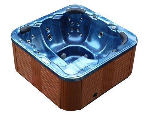 Outdoor Whirlpool Hot Tub Troja Spa Jakuzzi Farbe Blau mit 44 Massage Düsen + Heizung + Ozon Reinigung + LED Beleuchtung für 5 - 6 Personen für Außen günstig